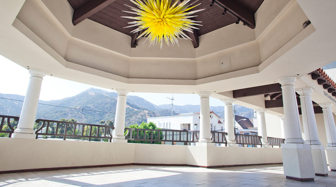 Catalina Island Museum-Open-air plaza _ gazebo with Chihuly chandelier - Gail Fornasiere